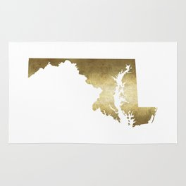 maryland gold foil state map Rug