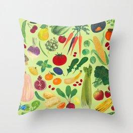 Fruits and Veggies Throw Pillow