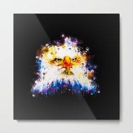 bald eagle splatter watercolor Metal Print