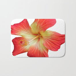 Gorgeous Red And Gold Hawaiian Hibiscus Flower No Text Bath Mat
