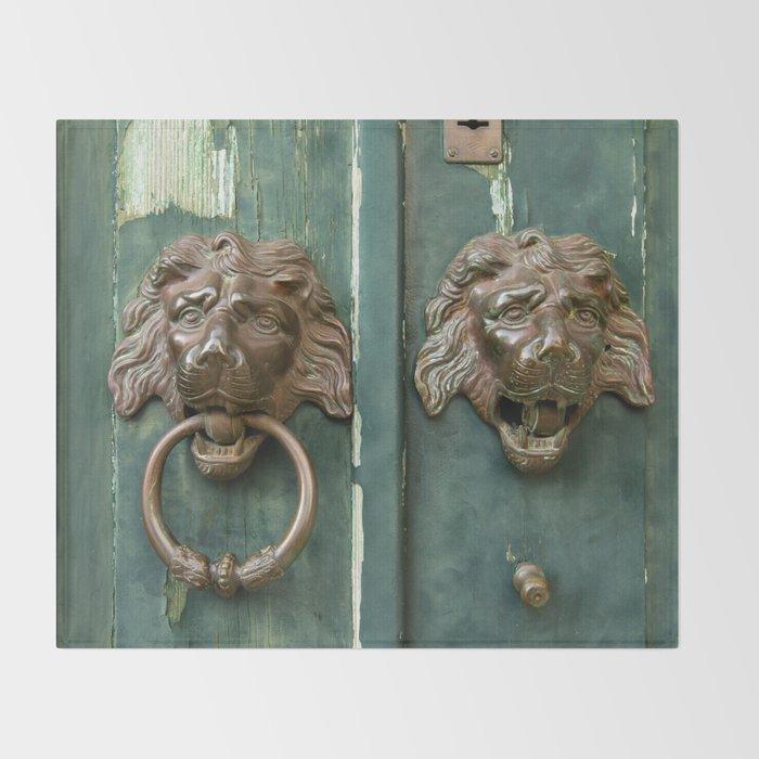 Lion heads of precious metal Throw Blanket