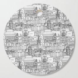 Edinburgh toile black white Cutting Board