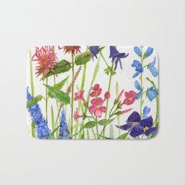 Garden Flowers Botanical Floral Watercolor on Paper Bath Mat