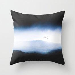Misty Mountains Low Cloudy Sky Birds Landscape Throw Pillow