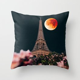 Blood Moon Over Paris France and the Eiffel Tower and Pink Flowers Throw Pillow