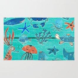 Blue & Orange Under the Sea Rug