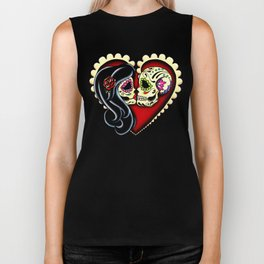 Ashes - Day of the Dead Couple - Kissing Sugar Skull Lovers Biker Tank