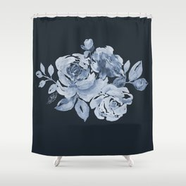 Country Rose on Indigo Shower Curtain