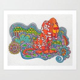 Zentangle Blood Hound Art Print