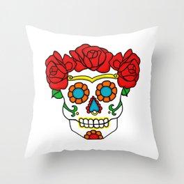 Rose Calavera Throw Pillow