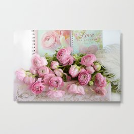 Shabby Chic Cottage Pink Floral Ranunculus Peonies Roses Print Home Decor Metal Print