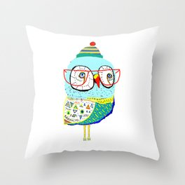 Bobble Hat Owl. Throw Pillow