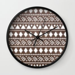 Vintage rustic brown leather white tribal pattern Wall Clock