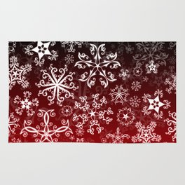 Symbols in Snowflakes on Holly Berry Rug