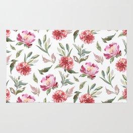 Pink flowers & green leafs pattern Rug
