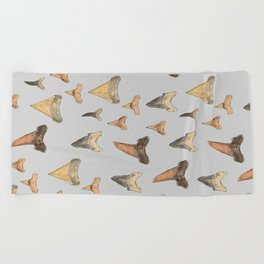 Shark Teeth Study - Grey Beach Towel