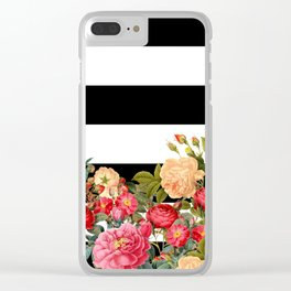 Black and White Stripe with Floral Clear iPhone Case