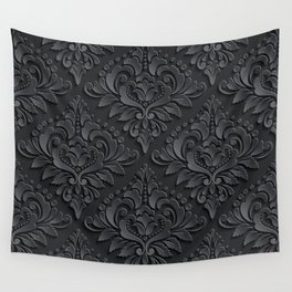 Black Damask Wall Tapestry