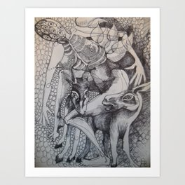 Riding a donkey Art Print