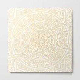 Pale Yellow Simple Simplistic Mandala Design Ethnic Tribal Pattern Metal Print