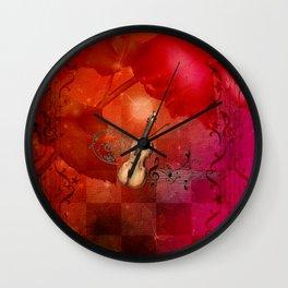 Music, violin with violin bow Wall Clock