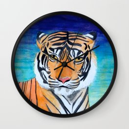 Tiger in the Stars Watercolor Wall Clock