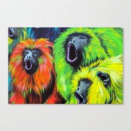 Urban Street Art: Screaming Fluorescent Monkeys Canvas Print