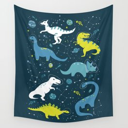 Kawaii Dinosaurs in Blue + Green Wall Tapestry
