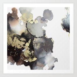 Black and gold abstract alcohol ink art Art Print