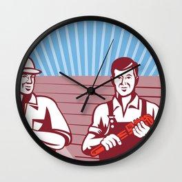 Construction Workers Tradesman Retro Wall Clock