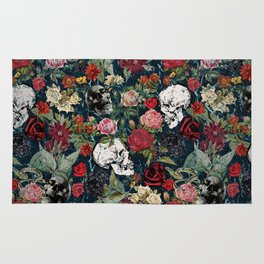 Distressed Floral with Skulls Pattern Rug