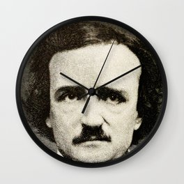 Edgar Allan Poe Engraving Wall Clock