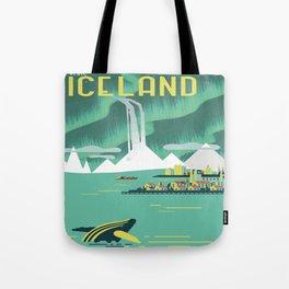 Vintage Mid Century Modern Iceland Scandinavian Travel Poster Ocean Whale Winter Village Tote Bag
