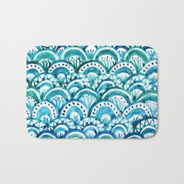 Blue Watercolor Mermaid Pattern Bath Mat