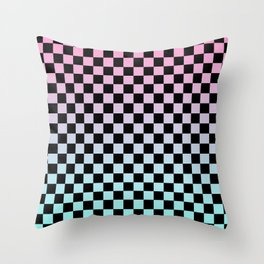 Pink and Blue Gradient Checkers Throw Pillow
