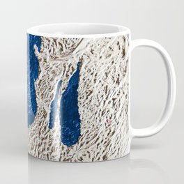 By the Bay: a minimal abstract mixed-media piece in blue gold and pink by Alyssa Hamilton Art Coffee Mug