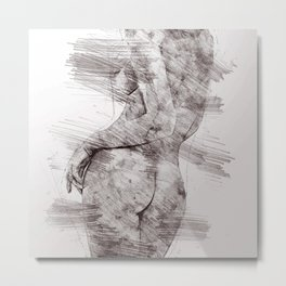 Nude woman pencil drawing Metal Print