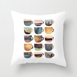 Earthy Coffee Cups Throw Pillow