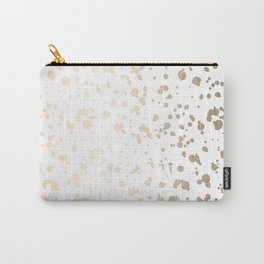 Luxe Gold Painted Dots on White Carry-All Pouch