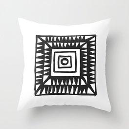 Tribal Print B&W- 02 Throw Pillow