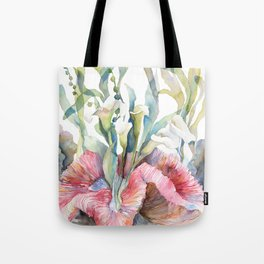 White Calla Lily and Corals Seaweed Watercolor Surreal Botanical Underwater Tote Bag