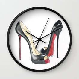 Red Sole Black Peep Toe Watercolor Wall Clock