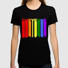 Cheyenne Wyoming Gay Pride Rainbow Skyline T-shirt