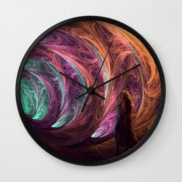 Towards The Light - Alice in Wonderland - White Rabbit - Fractal Wall Clock