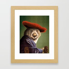 Wombat with a Red Hat Framed Art Print