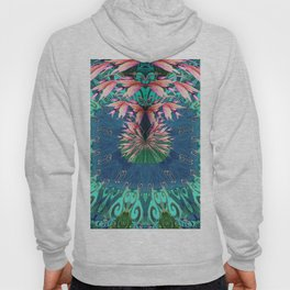 Lush Floral Abstract in Aqua, Moss and Light Coral Hoody