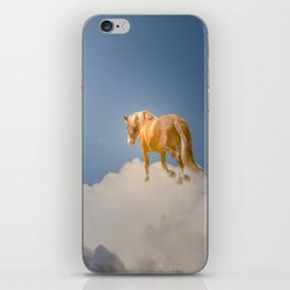 Walking on clouds over the blue sky iPhone Skin