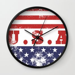 USA Patriotic Rubber Stamp Icon Wall Clock