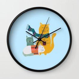 Cat cuddle -Hand Draw Wall Clock
