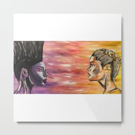 Women, people & things,art,wall art,female,girls,pretty,colourful,gift,beautiful,purple,yellow,hair Metal Print